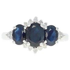 Sapphire & Diamond Ring - 14k White Gold Three-Stone w/ Accents 2.19ctw