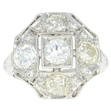 Art Deco Diamond Ring - 900 Platinum Vintage Size 3 Mine Cut 1.58ctw
