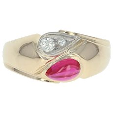 Vintage Men's Synthetic Ruby & Diamond Ring - 14k Yellow Gold Bypass .16ctw