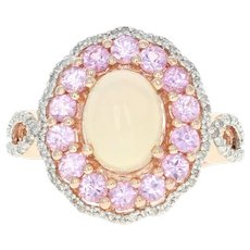 Opal, Pink Sapphire, & Diamond Halo Ring - 10k Rose Gold Cabochon 2.67ctw