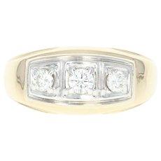Men's Diamond Ring - 14k Yellow Gold Three-Stone Round Brilliant .47ctw