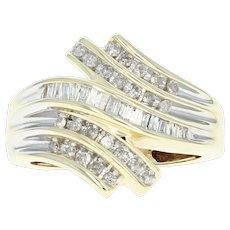 Diamond Bypass Ring - 10k Yellow Gold Single Cut & Baguette .33ctw