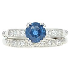 Art Deco Sapphire & Diamond Engagement Ring & Wedding Band Platinum 1.23ctw