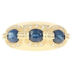 Sapphire & Diamond Ring - 18k Yellow Gold Three-Stone Halo 1.90ctw