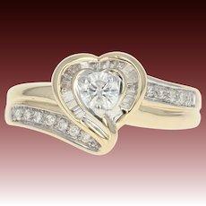 Diamond Halo Heart Ring - 14k Yellow Gold Bypass Round Cut 3/8ctw
