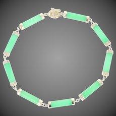 """Jadeite Jade Link Bracelet 6 3/4"""" - 14k Yellow Gold Women's Gift"""