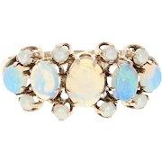 Edwardian Opal & Imitation Pearl Ring - 10k Gold Vintage Women's Size 5