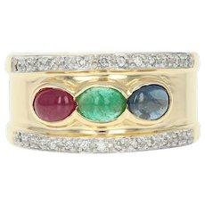 Multi-Gemstone Band Ring - 18k Gold Ruby Emerald Sapphire Dias. Cabochon 1.27ctw