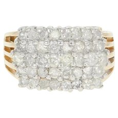 Diamond Tiered Cluster Ring - 14k Yellow Gold Round Cut 1.50ctw