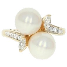 Cultured Pearl & Diamond Bypass Ring - 14k Yellow Gold Marquise .47ctw