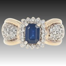 Sapphire & Diamond Halo Ring - 14k Yellow Gold 1.66ctw