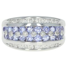 Tanzanite & Diamond Ring - 14k White Gold Round Brilliant 1.80ctw