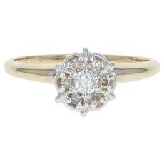 Diamond Engagement Ring - 14k Gold Illusion Solitaire Round Brilliant .18ctw
