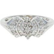 Diamond Cluster Ring - 10k White Gold Size 7 1/4 Single Cut .15ctw