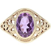 Vintage Synthetic Sapphire Ring - 10k Yellow Gold 1.50ct Pink Oval Filigree