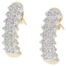 Diamond-Accented J-Hook Earrings - 10k Yellow & White Gold Pierced