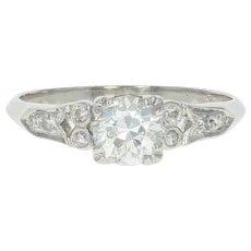 Art Deco Diamond Engagement Ring - 900 Platinum GIA Vintage European .77ctw