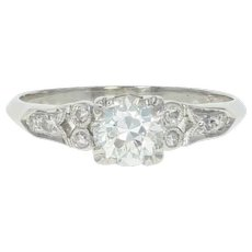 Art Deco Diamond Engagement Ring - 900 Platinum GIA Vintage European .77ctw
