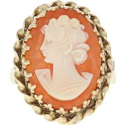 Vintage Carved Shell Cameo Ring - 14k Yellow Gold Women's Silhouette Size 7 1/2