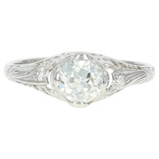 Art Deco Diamond Engagement Ring - Platinum Vintage GIA European .76ctw