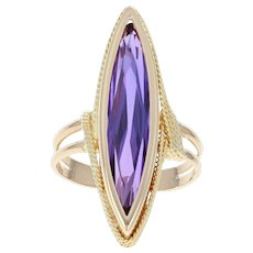 Synthetic Sapphire Solitaire Ring - 18k Yellow Gold Marquise Brilliant 8.00ct