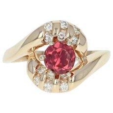Rubellite Tourmaline & Diamond Bypass Ring - 14k Gold Round Brilliant .89ctw