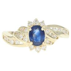 Sapphire & Diamond Bypass Ring - 14k Yellow Gold Oval Brilliant .94ctw