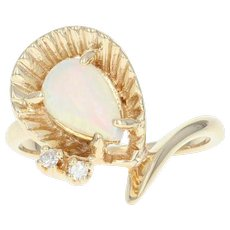 Opal & Diamond Bypass Ring - 14k Yellow Gold Pear Cabochon .54ctw