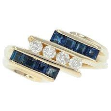 Sapphire Diamond Ring September Gift Yellow Gold 14k Size 5 1/2 Euro Shank