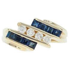 Sapphire Diamond Ring September Gift Yellow Gold 14k Size 5 1/2 Euro Shank