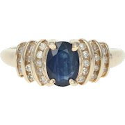 Sapphire and Diamond Ring Yellow Gold 10k Oval Women's Gift