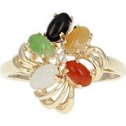 Jadeite Jade, Onyx, & Diamond Cluster Ring - 14k Yellow Gold Size 6 3/4