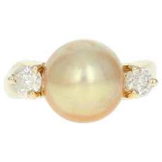 Golden Pearl & Diamond Ring - 14k Yellow Gold Round Brilliant .40ctw