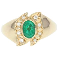 Oval Emerald Ring Diamond Accented Women's Gift Yellow Gold 18k High Karat