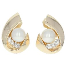 Diamond Accented Pearl Earrings Yellow Gold 14k Women's Gift June
