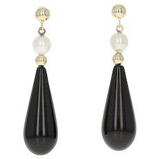 Onyx & Cultured Pearl Earrings - 14k Yellow Gold Teardrop Dangles Pierced