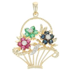 Multi-Gemstone & Diamond Basket Pendant - 14k Yellow Gold 0.86ctw Flowers