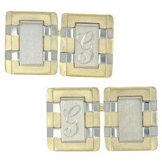 Initial G Cufflinks - 14k Yellow Gold Re-engravable Men's Personalized Gift