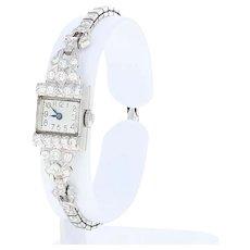 Vintage Diamond Ladies Watch - Platinum 14k Gold Mechanical Mvt. 2 Yr. Warranty