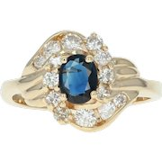 Sapphire & Diamond Cocktail Ring - 14k Yellow Gold 0.87ctw Oval Solitaire
