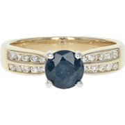 Sapphire & Diamond Ring - 14K Yellow Gold 1.61ctw Solitaire Round