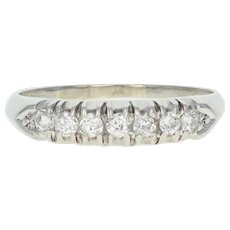 Art Deco Diamond Wedding Band - Platinum Vintage Ring Old European .30ctw