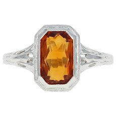Art Deco Citrine Solitaire Ring - 14k White Gold 1.80ct Rectangle Orange