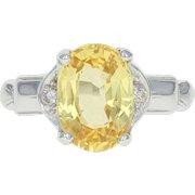 Vintage Synthetic Yellow Sapphire & Diamond Ring - 14k White Gold 3.55ctw