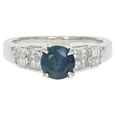 Sapphire & Diamond Engagement Ring - 18k White Gold Round Cut 1.76ctw