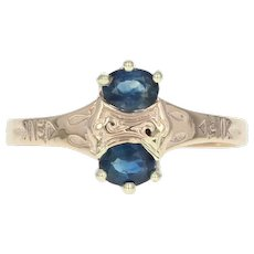Victorian Sapphire Ring - 12k Yellow Gold 0.60ctw Oval Thin Band