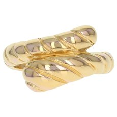Textured Bypass Ring - 14k Yellow Gold Polished Lightweight