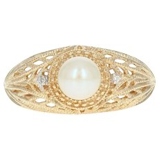 Cultured Pearl Ring - 10k Yellow Gold Filigree 6.2mm Diamond Accents