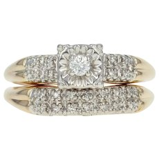 Vintage Diamond Engagement Ring & Wedding Band - 14k Gold Round Brilliant .14ctw