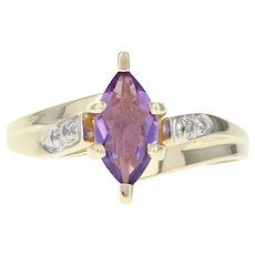 Amethyst & Diamond Bypass Ring - 10k Yellow Gold Marquise Brilliant .92ctw